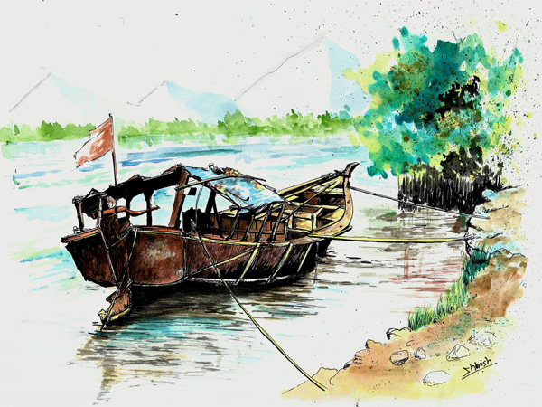 Drawing a Boat with Pens, Inks and Watercolors